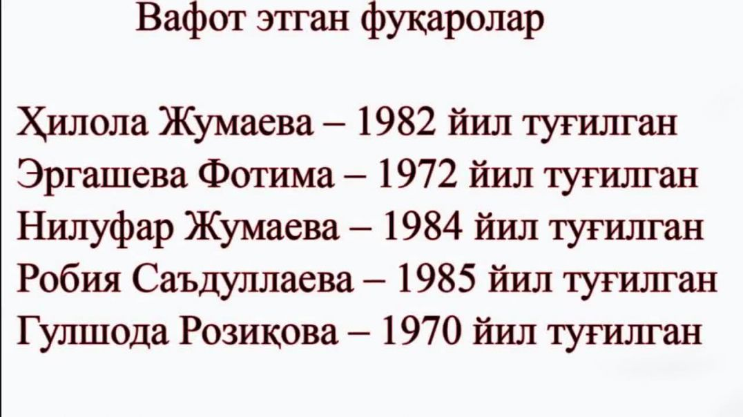Портлашда Халок Булган Аёллар Руйхати элон килинди