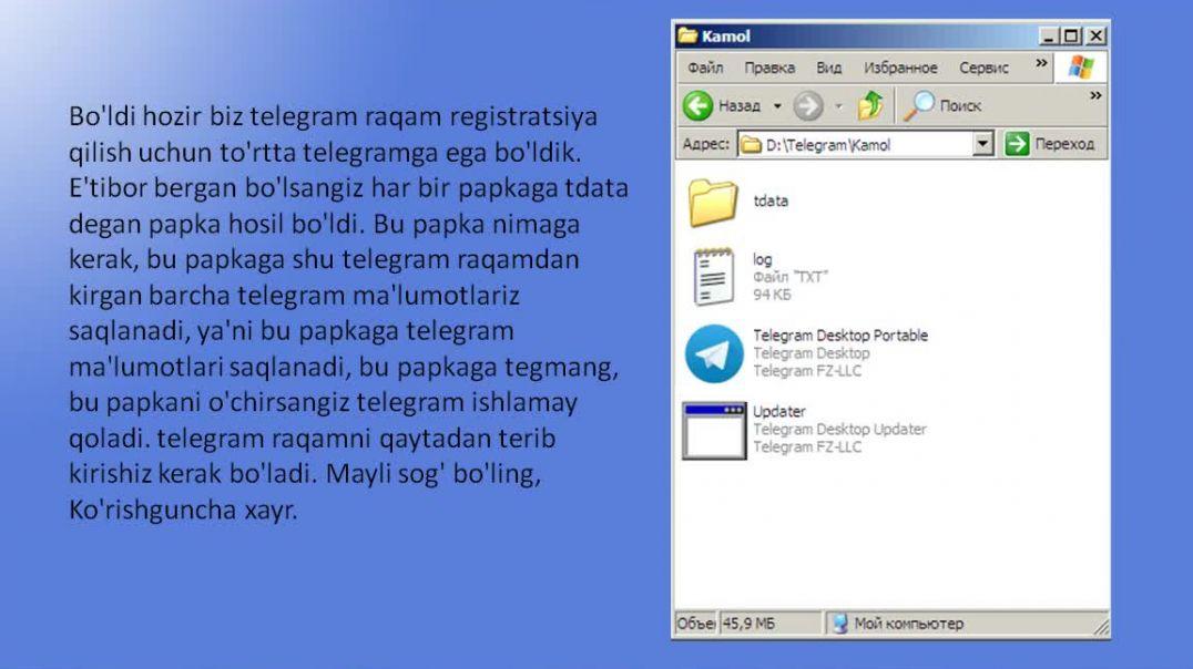 Kompyuterda bir nechta telegram raqamdan telegramga kirish.mp4