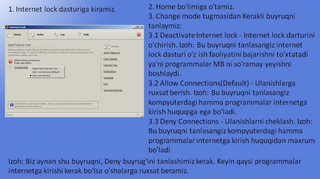 Kompyuterda programmalar internetga kirishini cheklash va MB larni tejash.mp4